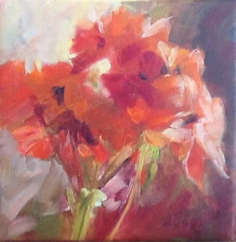 """Geranium"" original fine art by Jean Fitzgerald"