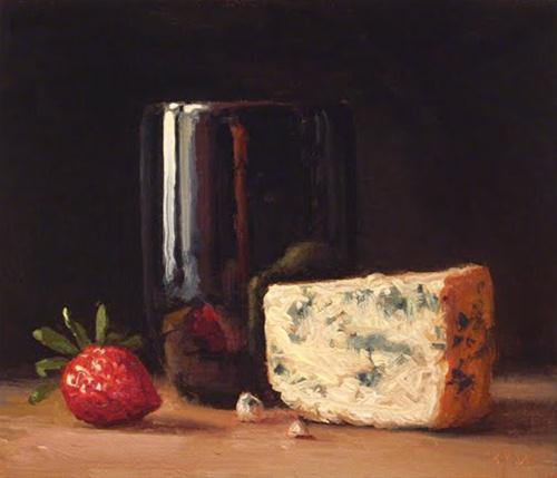 """Still Life with Strawberry and Bleu Cheese"" original fine art by Abbey Ryan"