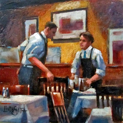 """A Working Discussion"" original fine art by Linda K Smith"