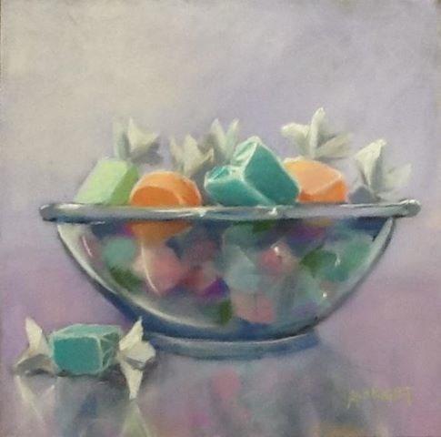 """Bowl of Taffy"" original fine art by Judy Albright"