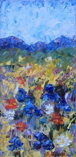 """Palette Knife Flower Art Painting Vail Meadow by Colorado Impressionist Judith Babcock"" original fine art by Judith Babcock"