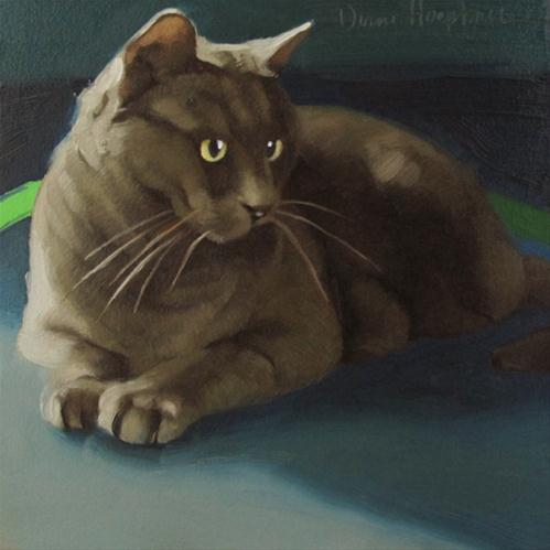 """Distracted III handsome gray boy cat sold"" original fine art by Diane Hoeptner"