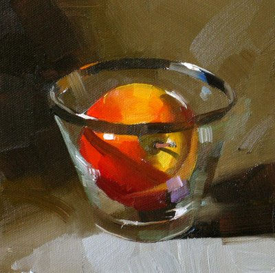 """A Glass of Apple --- Sold"" original fine art by Qiang Huang"