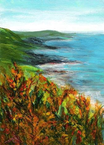 """3160 - GORSE AT THE OCEAN - ACEO Series"" original fine art by Sea Dean"