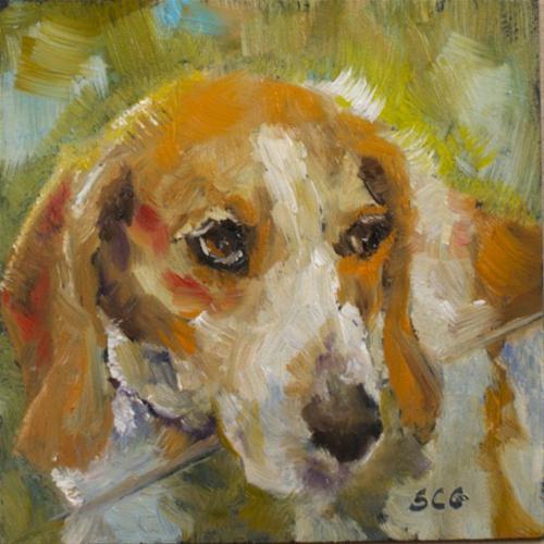 """Dog at the Window"" original fine art by Sue Churchgrant"