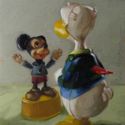 """Toy Talk I Vintage Mickey Mouse Donald Duck"" original fine art by Diane Hoeptner"
