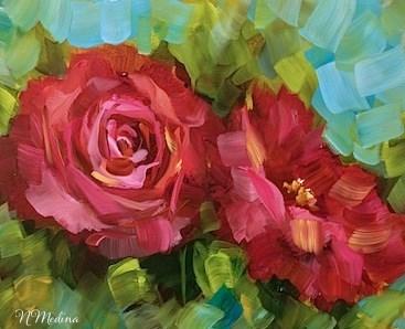 """""""Double Pink Roses by Nancy Medina"""" original fine art by Nancy Medina"""