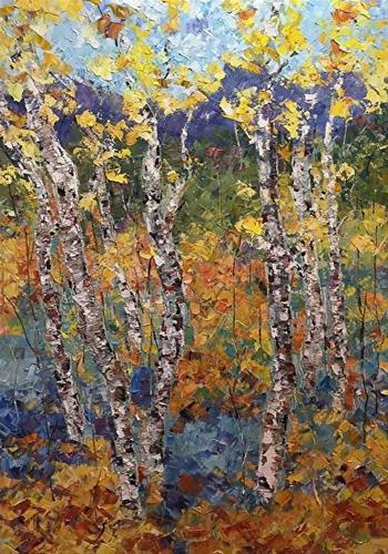"""Palette Knife Aspen , Poppy Landscape Painting South Platte by  Colorado Impressionist Judith Babc"" original fine art by Judith Babcock"