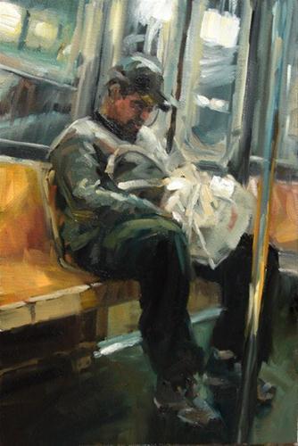 """""""The E Train"""" original fine art by Robin Cheers"""