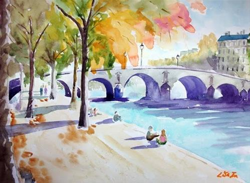 """La Seine, Paris"" original fine art by Lisa Fu"