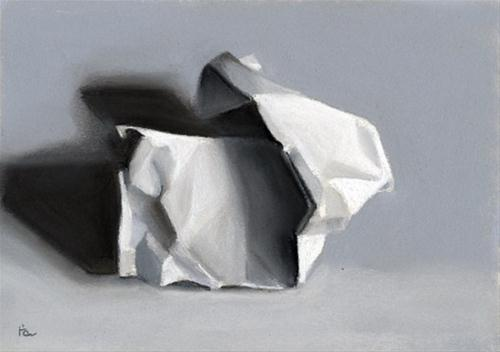 """crumpled paper"" original fine art by Ria Hills"