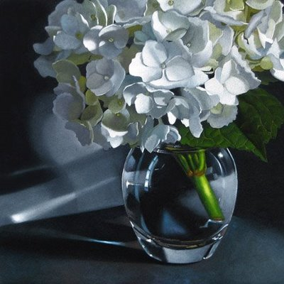 """White Hydrangea 6x6"" original fine art by M Collier"