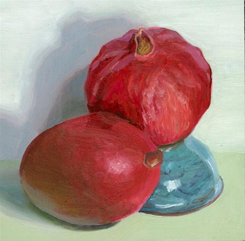 """Mango and pomegranate on bowl"" original fine art by Jean Wilkey"