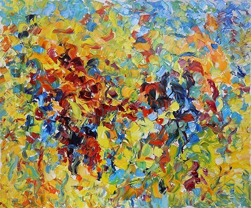 """Abstract Floral Palette Knife Painting Color Symphony  by Judith Babcock Colorado Artist"" original fine art by Judith Babcock"