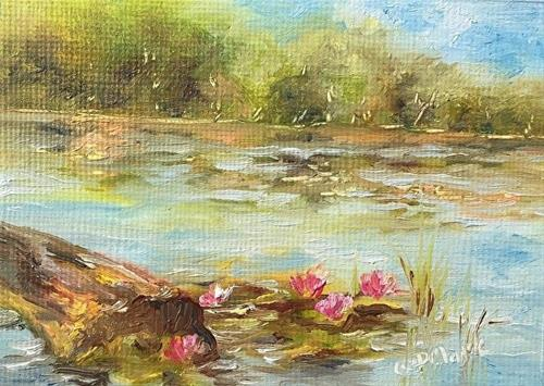 """Morning Lilies, 2.5 X 3.5 inches, oil, landscape"" original fine art by Donna Pierce-Clark"