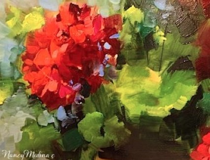 """A Testy Rendezvous in France - Flower Paintings by Nancy Medina"" original fine art by Nancy Medina"