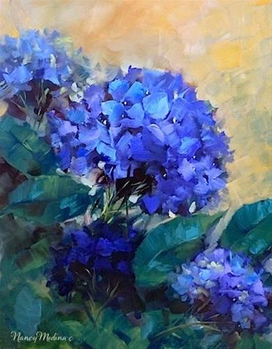 """Blue Summer Garden Hydrangea Painting and an Easy Cookie Recipe by Floral Artist Nancy Medina"" original fine art by Nancy Medina"