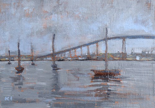 """Gray Day Sailboats, San Diego Bay"" original fine art by Kevin Inman"