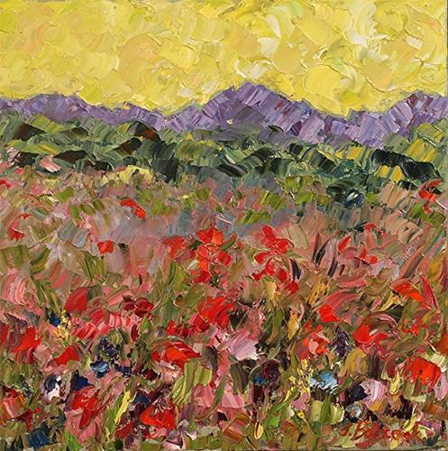"""Original Palette Knife  Flower Art Impressionism Landscape Painting Flute Concerto  by  Colorado I"" original fine art by Judith Babcock"