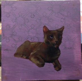 """Work in Progress of cat painting, a photo"" original fine art by Diane Hoeptner"