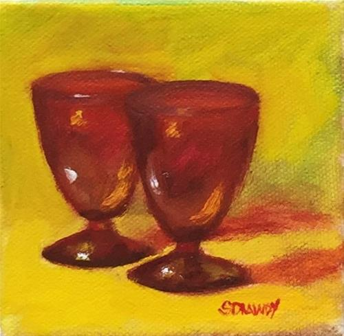 """Royal Ruby Cordial Glasses"" original fine art by Stephanie Drawdy"