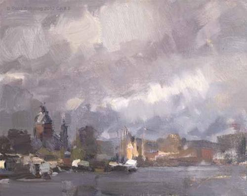 """Cityscape Amsterdam # 8 Rainy day Light on Central Station"" original fine art by Roos Schuring"