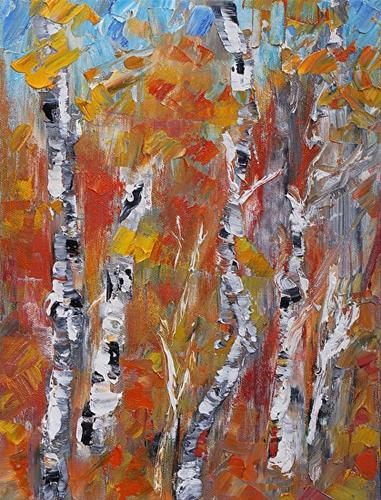 """Essence Original Impressionism Palette Knife Aspen Tree Painting by Colorado Impressionist Judith"" original fine art by Judith Babcock"