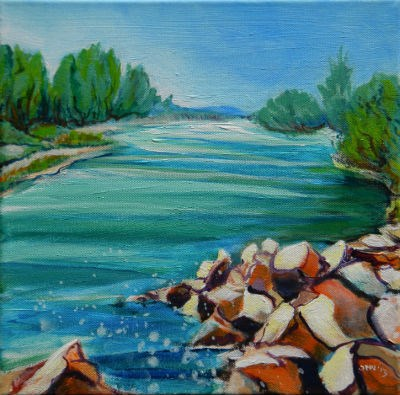"""Willamette River 1.2"" original fine art by Pam Van Londen"