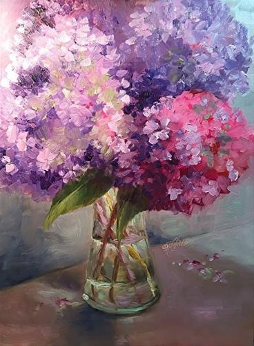 """Hydrangeas, 9 x 12 Oil, Floral"" original fine art by Donna Pierce-Clark"