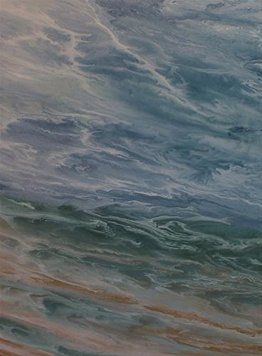 """Contemporary Seascape Abstract Beach Art Coastal Art Painting Rolling Waters by International Cont"" original fine art by Kimberly Conrad"