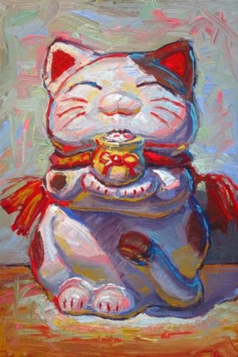 """Maneki Neko with Pot"" original fine art by Raymond Logan"
