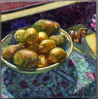 """Watercolor: Pears & Lemons in the Sun"" original fine art by Belinda Del Pesco"