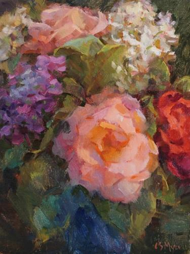 """June Roses & Hydrangeas"" original fine art by Carol Myer"