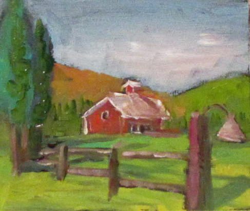 Mini-Landscape  oil 3x2.5  landscape #344 original fine art by Christine Holzschuh