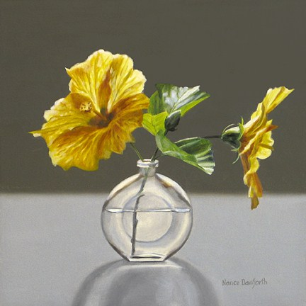 """Yellow Hibiscus In Perfume Bottle"" original fine art by Nance Danforth"