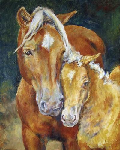 """Cuddle Up"" original fine art by Robin Peterson"