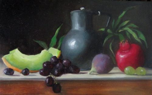 """Pewter Jug with fruit"" original fine art by Liz Balkwill"
