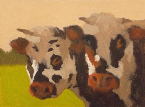 """""""Curious Cows"""" original fine art by Bobbi Heath"""