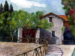 """Watercolor: House near Palatine Hill (Rome)"" original fine art by Belinda Del Pesco"