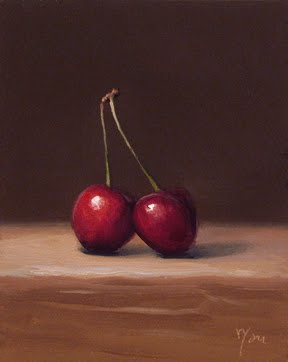 """Cherries No. 2 - available"" original fine art by Abbey Ryan"