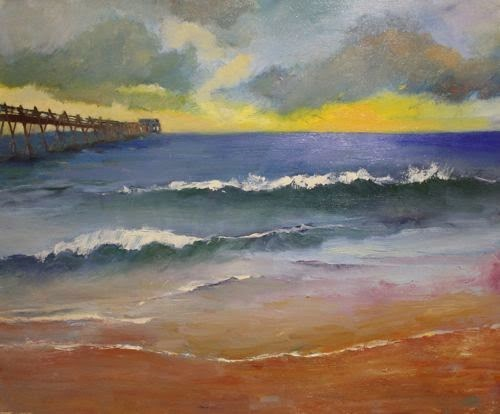"""California Pier, Beach and Ocean Paintings by Arizona Artist Amy Whitehouse"" original fine art by Amy Whitehouse"