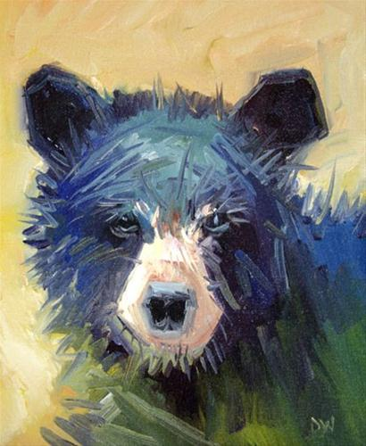 """BLACK BEAR TWO Diane Whitehead Artoutwest Daily Painting Animal Art"" original fine art by Diane Whitehead"