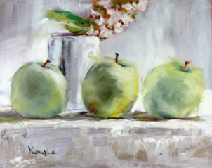 """still life oil painting with green apples, white cup and white flowers"" original fine art by Carrie Venezia"