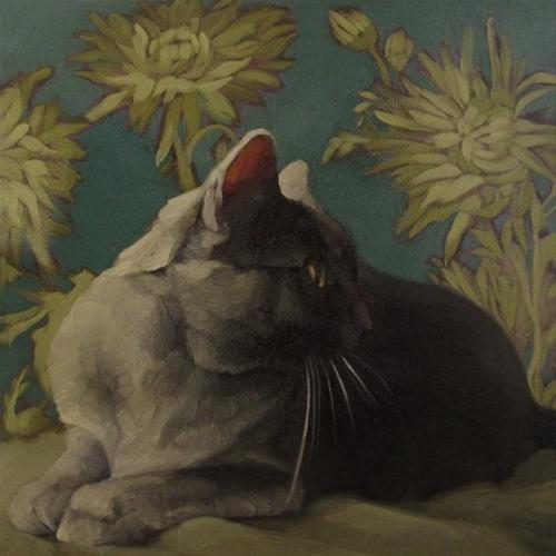 """Smoke on Teal gray coco kitty on pattern painting"" original fine art by Diane Hoeptner"