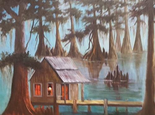 """Cabin in Bayou"" original fine art by Barbara Haviland"