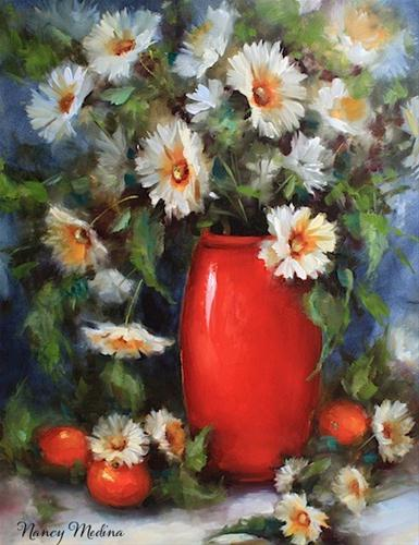 """Rise and Shine Oranges and Daisies by Texas Flower Artist Nancy Medina"" original fine art by Nancy Medina"