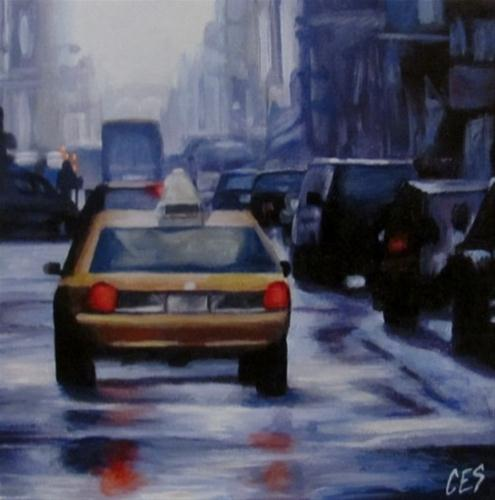 """Taxi On A Rainy Street"" original fine art by ~ces~ Christine E. S. Code"