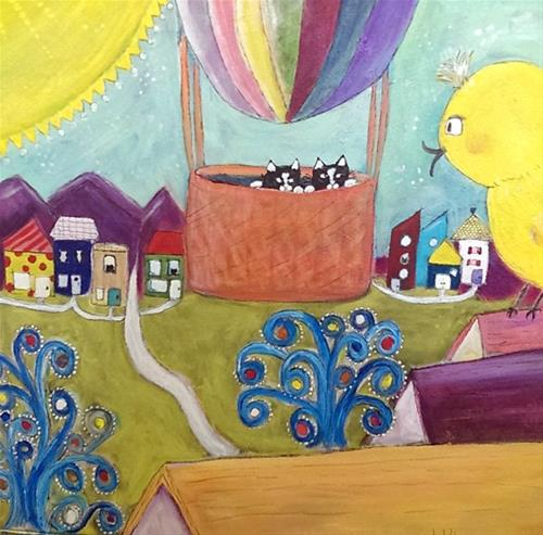 """KittyScape: We're Flying"" original fine art by Lou Belcher"