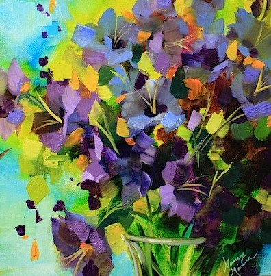 """Color Tantrum Purple Glads"" original fine art by Nancy Medina"