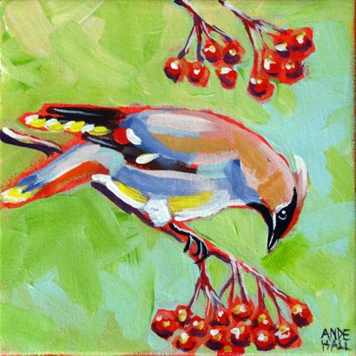 """Bohemian Waxwing"" original fine art by Ande Hall"